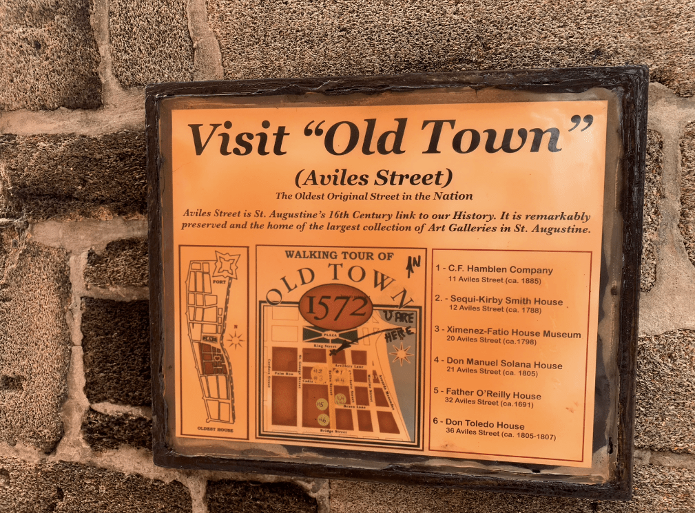 visit Old Town Aviles Street in Saint Augustine, Florida sign