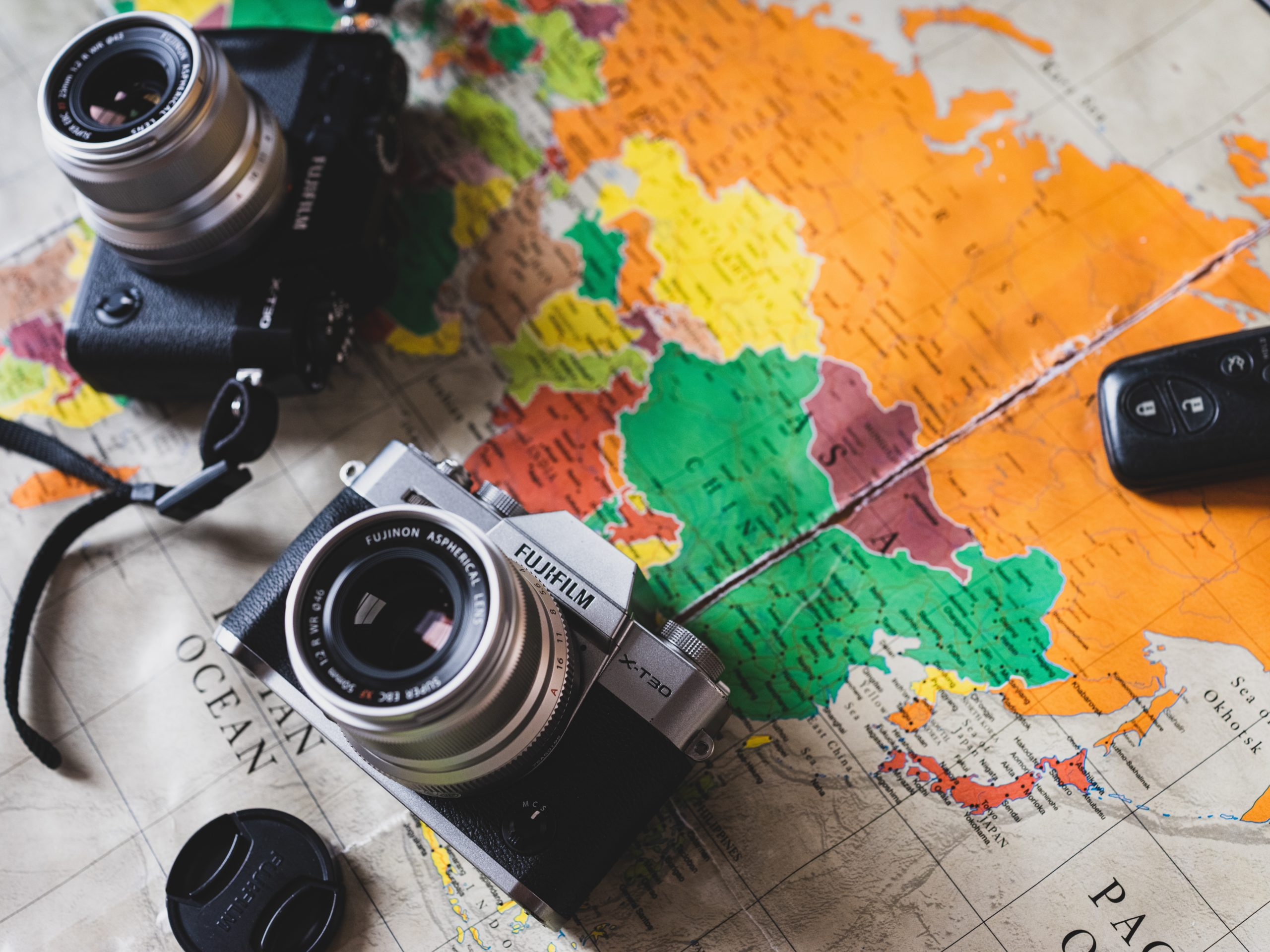 camera and map
