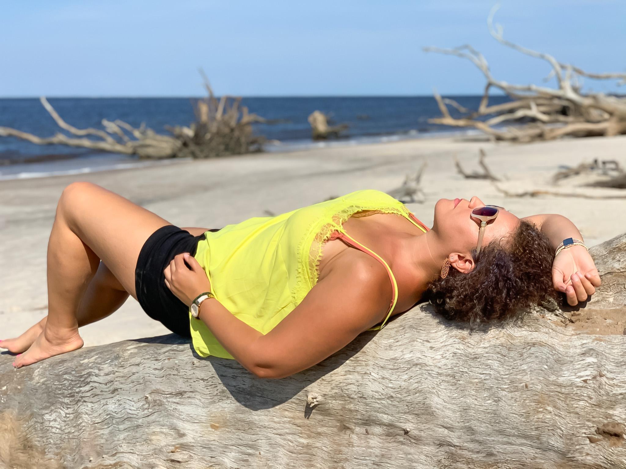 sunbathing at Big Talbot Island State Park