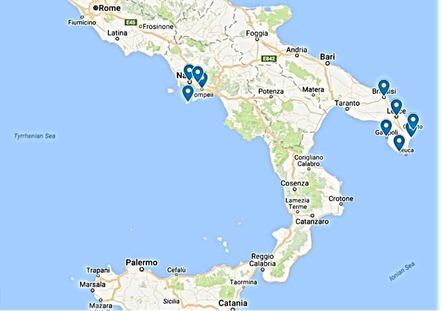 Long weekend in Southern Italy Naples and Salento regions map