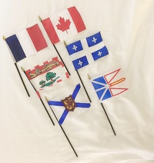 From left to right, top to bottom: flags of France, Canada, Price Edward Island, Quebec, Nova Scotia, Newfoundland & Labrador