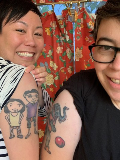Nancy and I both have tattoos honoring our parents.
