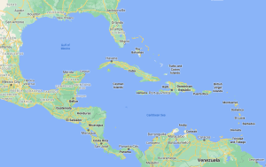 A map of the Gulf of Mexico, Central America, and the Caribbean