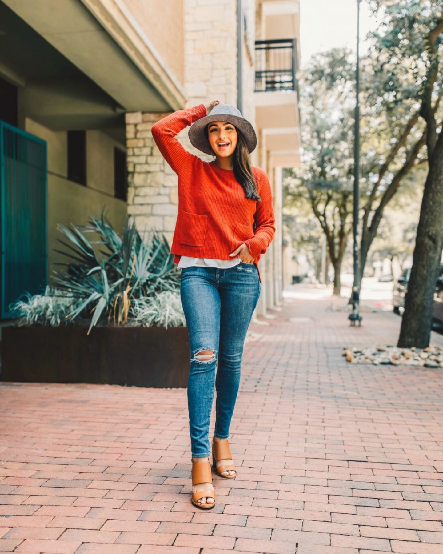 Nordstrom Anniversary Sale Madewell Sweater, Nordstrom Hat, and Frame DENIM