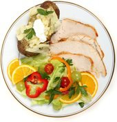 plate with turkey baked potato and salad Does food combining work? Fact or fiction