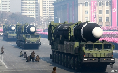 This photo taken Feb. 8, 2018, and released on Feb. 9, 2018, by North Korea's official Korean Central News Agency (KCNA) shows Hwasong-15 ballistic missile during the military parade in Pyongyang, North Korea.