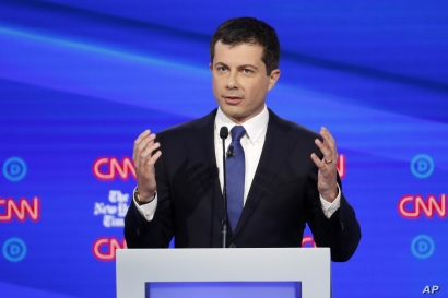 In this Oct. 15, 2019, photo, Democratic presidential candidate South Bend Mayor Pete Buttigieg speaks during a Democratic…