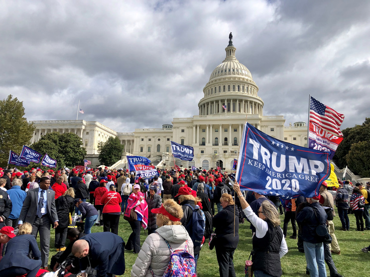 Supporters of President Donald Trump rally outside the U.S. Capitol Building in Washington to protest his impeachment inquiry, Oct. 17, 2019. (Photo: Diaa Bekheet)