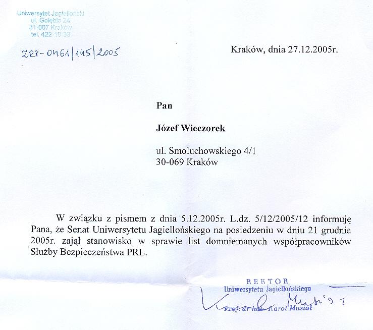 Niewyjaśniona (?) zagadka –  dlaczego dr Reszczyński może pracować na UJ, a dr Wieczorek -nie ? (2/2)