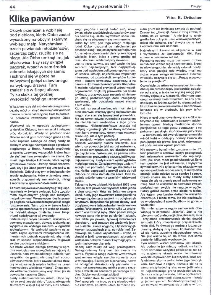 Klika pawianów, czyli sceny z życia akademickiego (2/4)