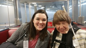 Dana Ard with Rep,. Mike Simpson's intern, Kelli Englebee, on the train between the House & Senate sides of the U.S. Capitol