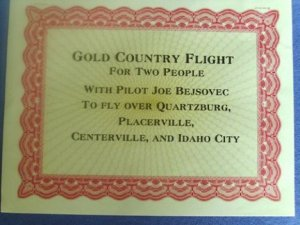 Gift Certificate from Gold Country Flights