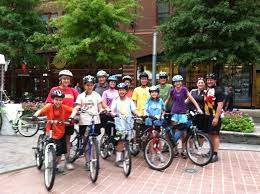 A group riding bicycles