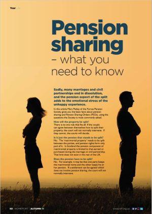 Pension sharing informational poster.