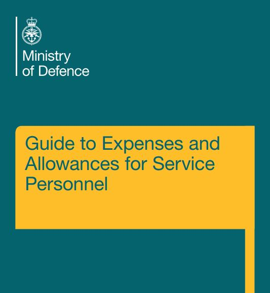 MOD Guide to Expenses and Allowances for Serving Personnel front page.