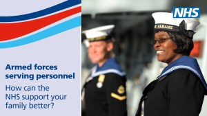 NHS Armed Forces Families Engagement poster for serving personnel