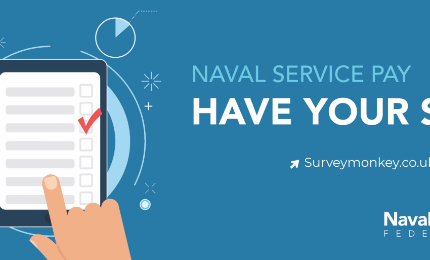 Poster depicting the naval service pay survey