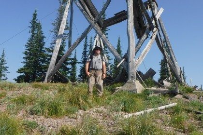 Regi in front of the Coal Ridge Lookout