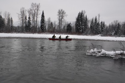 canoeing in winter
