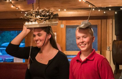 Sarah Ulrichesen in her prize winning hat with her brother Erik