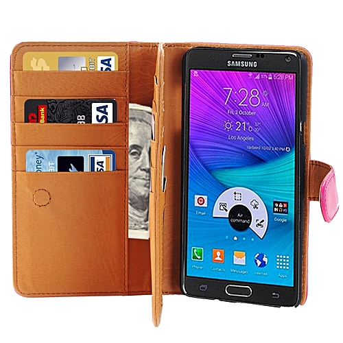 Generic Crazy Horse Texture Horizontal Flip Leather Case With 3 Pages Of Card Slots & Wallet & Holder For Samsung Galaxy Note 5 / N920(Magenta)