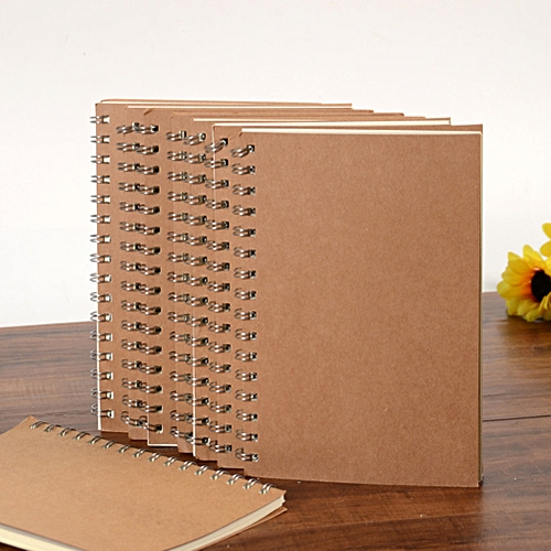 Generic 14 * 21cm Translucent Matte/Kraft Cover High Quality Journal Sprial Diary Notebook 50 Pages Color:Kraft Paper Style:Grid
