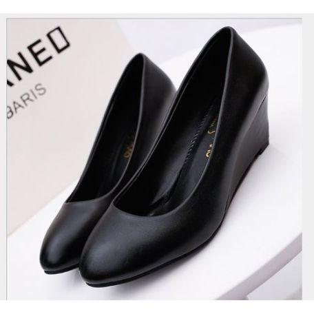 New Trendy Ladies Wedge Women Shoes-Black