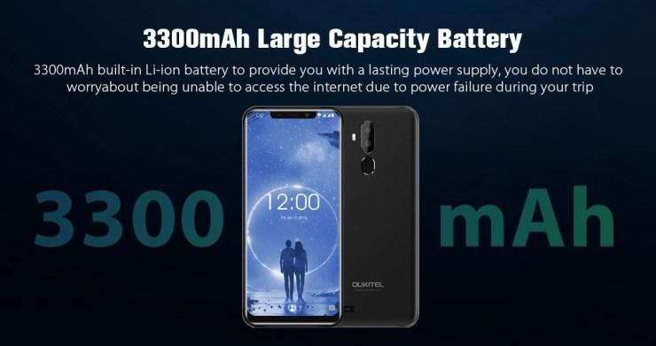Oukitel C12 3G Phablet 6.18 inch Android 8.1 MT6580 Quad Core 2GB RAM 16GB ROM 2.0MP Front Camera Fingerprint Sensor 3300mAh Built-in