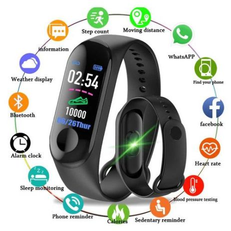 Sports Fitness Watch Activity Tracker Smart Wristband(Black)