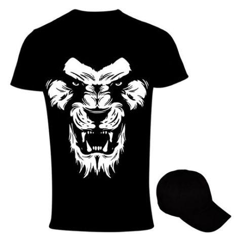 Fearless Men's Print T-Shirt And Cap - Black