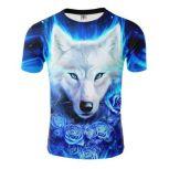 Glow Wolf Short Sleeve 3D Print T-shirt - Blue