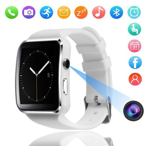 X6 Touch Screen Smart Watch With Camera - White