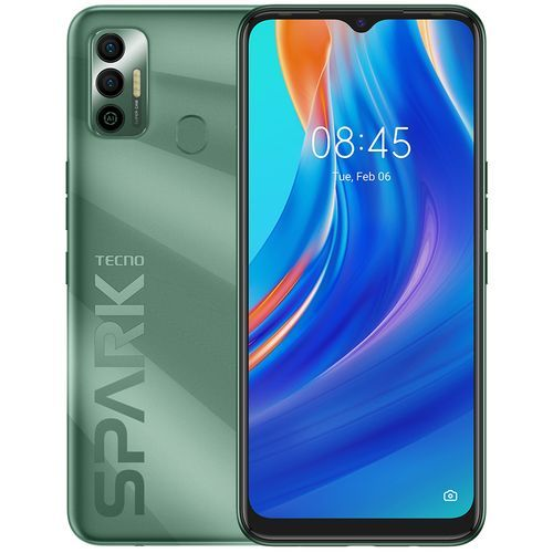 "Spark 7 (KF6i) 6.5"" HD+, 64GB ROM + 3GB RAM, 5000mAh, 16MP Dual Camera + 8MP Selfie, 4G, Fingerprint - Spruce Green"