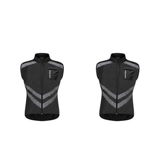 2x Reflective Vest Biking Windproof Night Sport Jersey Suit