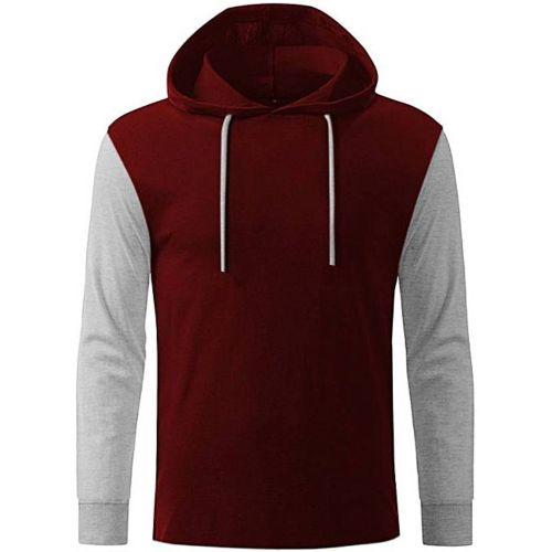 Long Contrast Sleeve Hooded T-Shirt - Wine & Grey