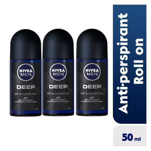 Deep Anti-Perspirant Roll-on For Men, 48h - 50ml (Pack Of 3)
