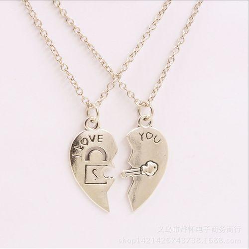Best Friends Love Heart Couple Necklace. Jewelry