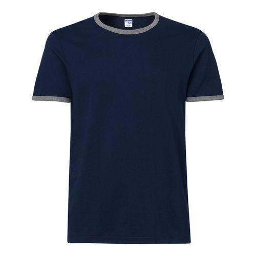 Navy Blue Grey Ringer T-Shirt