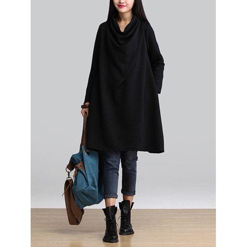 Loose Long-sleeved Dresses Autumn Winter - Black