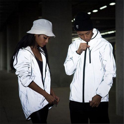 XXXXXL XXXXL Men's 3M Full Reflective Jacket Light Hoodies Chaqueta Hombre Hip Hop Waterproof Chaqueta Reflectante Hombre Coats Man CUI