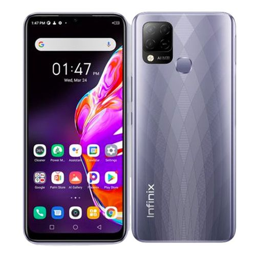 Hot 10T (X689C) 6.82-Inch (128GB ROM, 4GB RAM) 48MP+8MP Selfie Camera, 5000mAh Battery - Purple