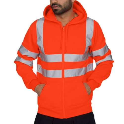 Mens Reflective Stripe Tops Sanitation Worker And Fireman Work Uniform Thickened Men's Hoodies Winter Outdoor Cold-proof Jacket(#red) CUI