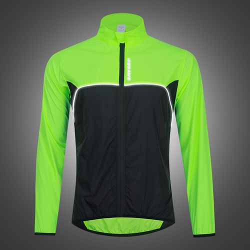 Cycling Mens Reflective Jacket Rain Coat Breathable Black Green L