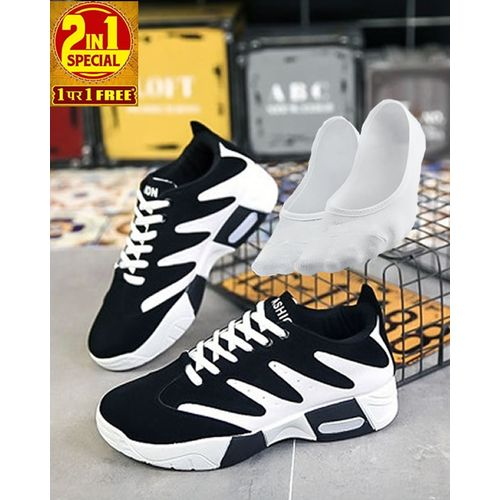 2-In-1 Lace-up Slip-on Sneakers With Free Ankle Socks