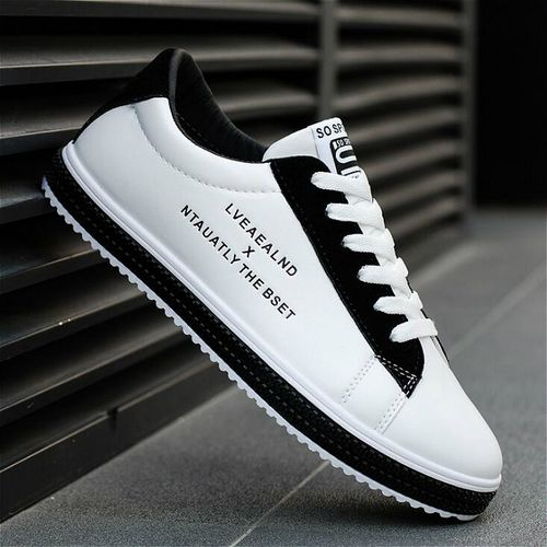 Trendy Men's Lace-up Sneakers-White And Black