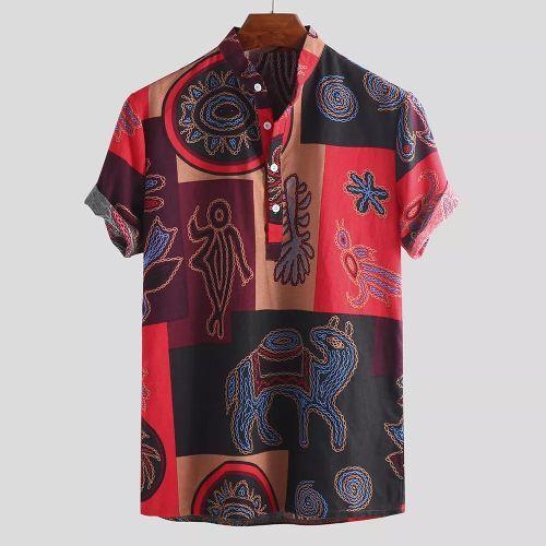Men's Vintage Loose Casual Ethnic Short Sleeve Shirt