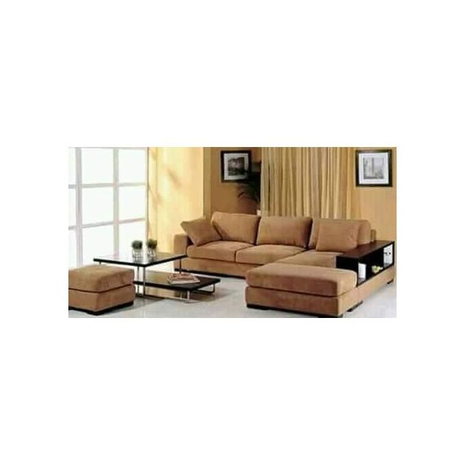 light brown l shaped 5 seater sofa plus free ottoman delivery only in lagos