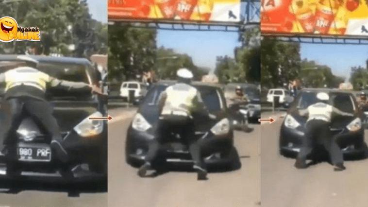 Viral Aksi Heroik Seorang Polisi yang Hentikan Mobil di Jalanan Ini