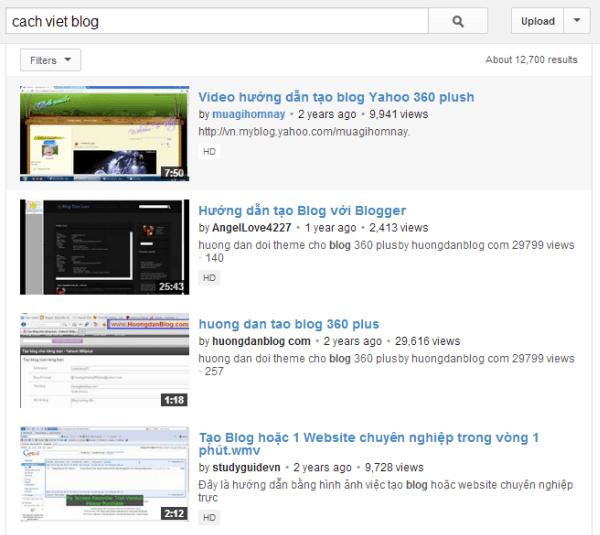 Cách tìm chủ đề qua Youtube