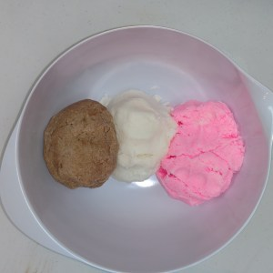 Neapolitan Ice Cream Bubble Bars Setting Up the Three Colors